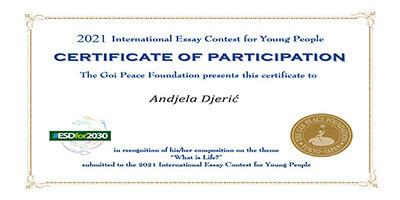 """Međunarodno takmičenje u pisanju eseja """"Goi Peace Foundation"""""""